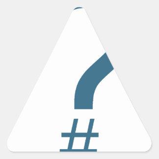Blue/Cyan Question Tag/Hash Mark Triangle Sticker