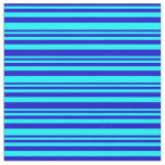 [ Thumbnail: Blue & Cyan Striped/Lined Pattern Fabric ]