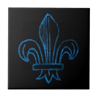 Blue / Cyan Worn Fleur de Lis Ceramic Tile