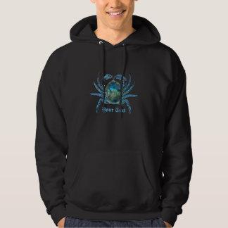 Blue  Cyborg Crab Customizabl Hooded Pullover