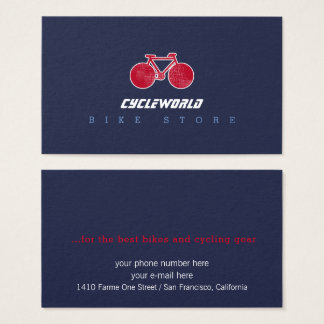 blue cycle store business card with red bicycle