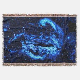 Blue Cygnus Loop Nebula outer space picture Throw Blanket