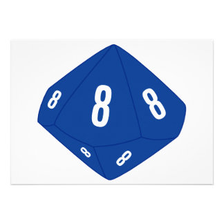 Blue D10 Table Number Card