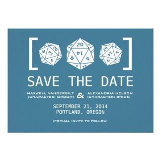 Blue D20 Dice Gamer Save the Date Invite
