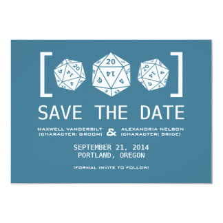 Blue D20 Dice Gamer Save the Date Invite