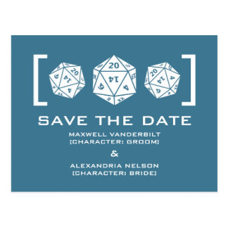 Blue D20 Dice Gamer Save the Date Postcard