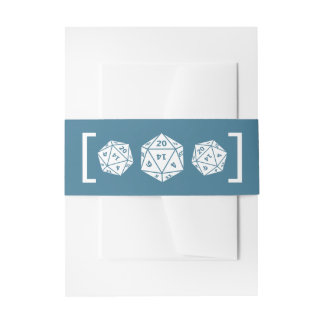 Blue D20 Dice Gamer Wedding Belly Bands Invitation Belly Band