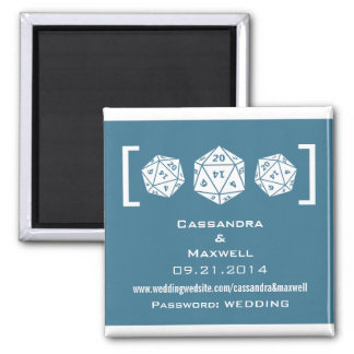 Blue D20 Dice Gamer Wedding Info Magnet v2