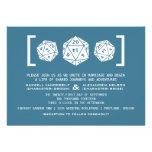 Blue D20 Dice Gamer Wedding Invitation
