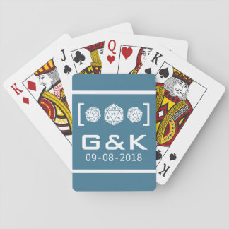 Blue D20 Dice Gamer Wedding Playing Cards
