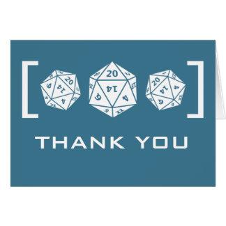 Blue D20 Dice Gamer Wedding Thank You Card