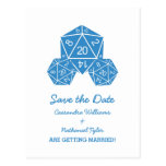 Blue D20 Dice Save the Date Postcard