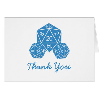 Blue D20 Dice Thank You Card Note Card