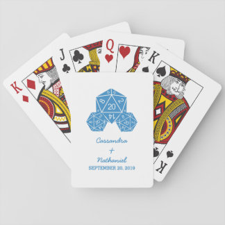 Blue D20 Dice Wedding Playing Cards
