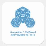 Blue D20 Dice Wedding Stickers