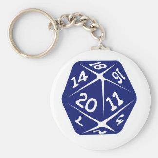 Blue d20 keychain