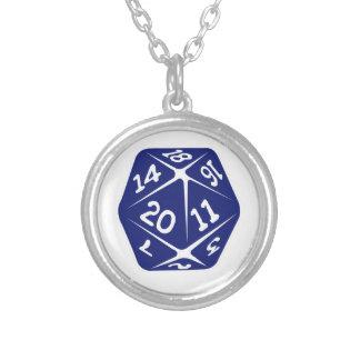 Blue d20 necklaces