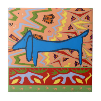 Blue Dachshund Abstract Ceramic Tile