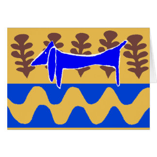 Blue Dachshund Abstract Dogs Card
