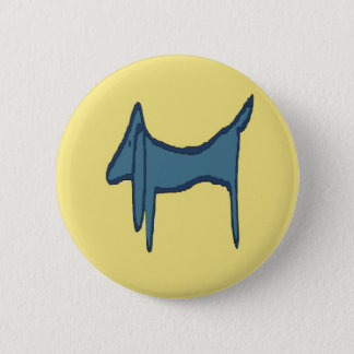 Blue Dachshund Abstract Fauvism Button