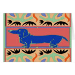 Blue Dachshund Abstract Fauvism Greeting Card