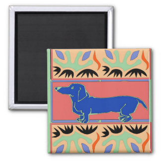 Blue Dachshund Abstract Fauvism 2 Inch Square Magnet