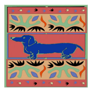 Blue Dachshund Abstract Fauvism Poster