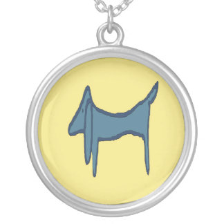 Blue Dachshund Abstract Fauvism Silver Plated Necklace