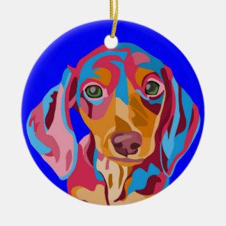 Blue Dachshund Ceramic Ornament