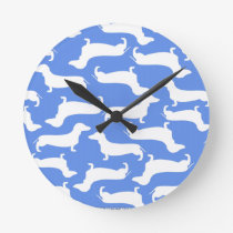 Blue Dachshund Pattern Perfect Gift for Doxie Love Round Clock