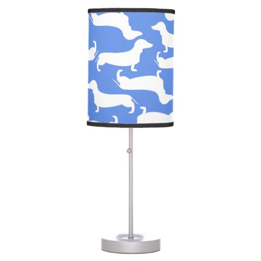 Blue dachshund pattern perfect gift for doxie love table lamp zazzle - Dachshund lamp ...