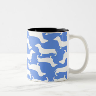 Blue Dachshund Pattern Perfect Gift for Doxie Love Two-Tone Coffee Mug