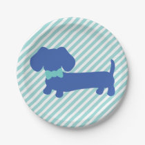 Blue Dachshund Wiener Dog Party Paper Plate