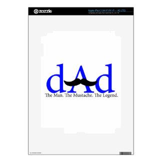 Blue Dad Mustache iPad 3 Skin