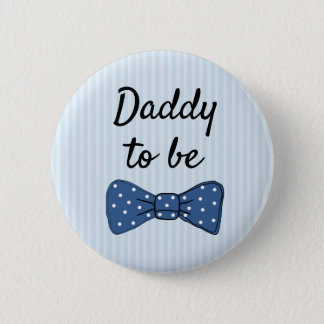 Blue Dad to be Bow Tie Baby Shower Button