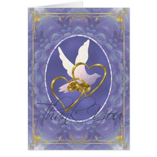 Blue Dahlia Dove - Thank You Greeting Card