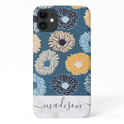 Blue Dahlia Floral Pattern Marble Script Name iPhone 11 Case