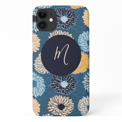 Blue Dahlia Floral Pattern Script Monogram iPhone 11 Case