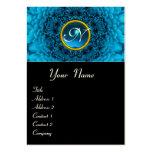 BLUE DAHLIA FLOWER PETALS SAPPHIRE GEM MONOGRAM, LARGE BUSINESS CARDS (Pack OF 100)