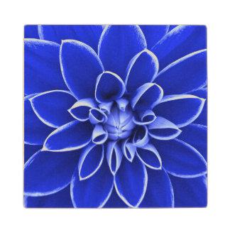 Blue dahlia flower wooden coaster