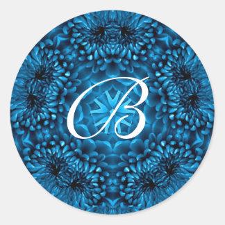 BLUE  DAHLIA MONOGRAM CLASSIC ROUND STICKER