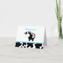 Blue Dairy Cow Boy Farm Baby Shower Thank you note