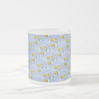 Blue Daisies Frosted Glass Coffee Mug