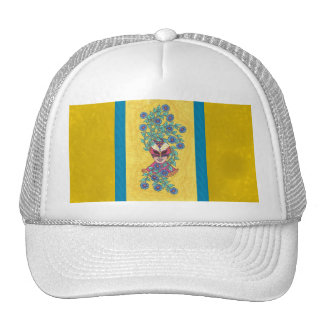 Blue Daisies Mardi Gras Mask Hat