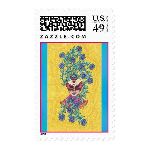 Blue Daisies Mardi Gras Mask Postage