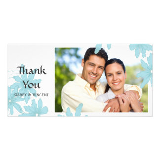 Blue Daisies on White Thank You Card