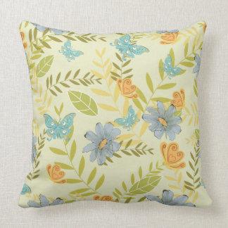 Blue Daisies Orange Butterflies Throw Pillow