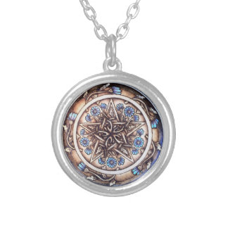 Blue Daisies Pentacle Pendant - Small Silver-Tone