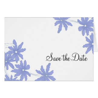 Blue Daisies Save the Date Announcement Card