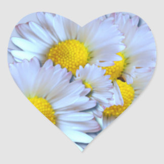 Blue Daisies Heart Sticker